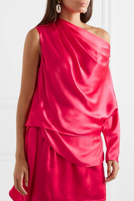 One-sleeve silk-charmeuse top