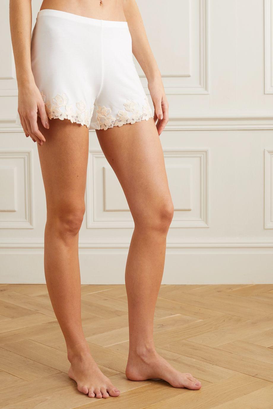 La Perla Brenda lace-trimmed satin-jersey pajama shorts