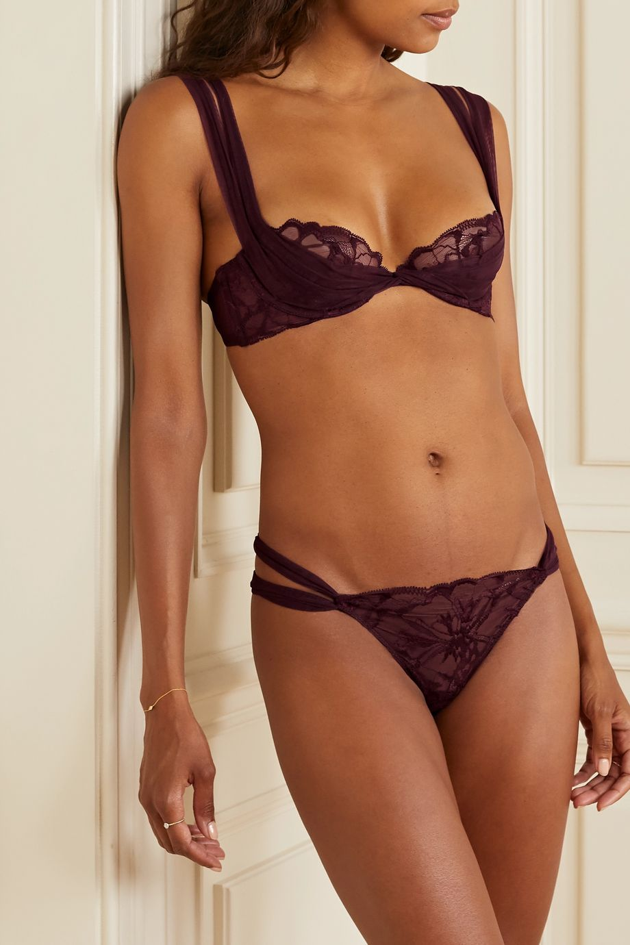 La Perla Alida Leavers lace and stretch-tulle underwired soft-cup balconette bra