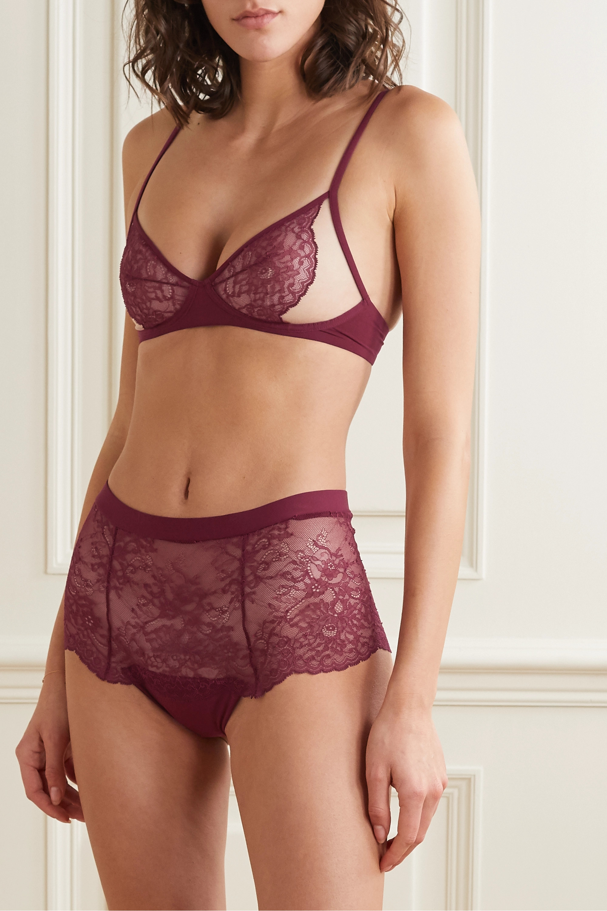La Perla Bianca lace-trimmed tulle and stretch-jersey underwired soft-cup bra