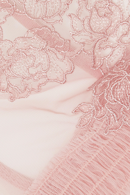 La Perla Bella shirred embroidered stretch-tulle triangle bra