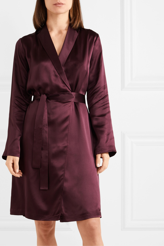 Burgundy Belted Silk Satin Robe La Perla Net A Porter