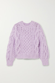 I Love Mr Mittens Cropped Aran cable-knit wool sweater