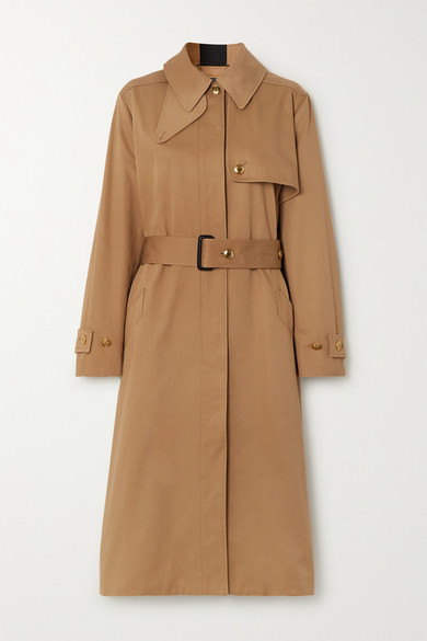 Givenchy Grosgrain-trimmed Cotton-gabardine Trench Coat In Beige