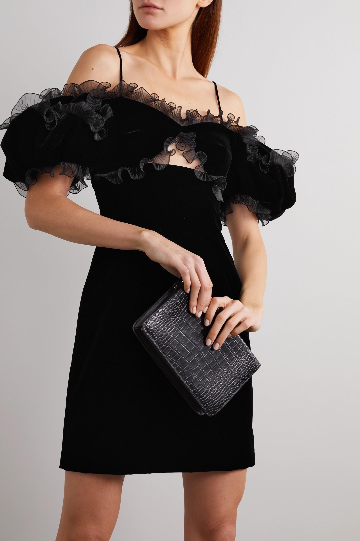 Givenchy Cutout ruffled plissé organza-trimmed velvet mini dress