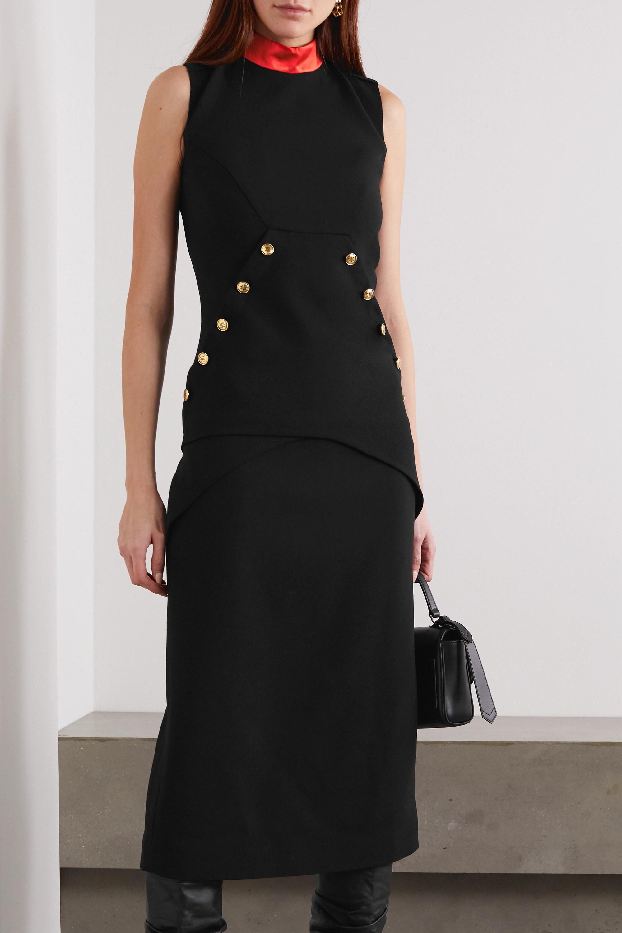 Givenchy Button-embellished satin-trimmed wool-crepe midi dress