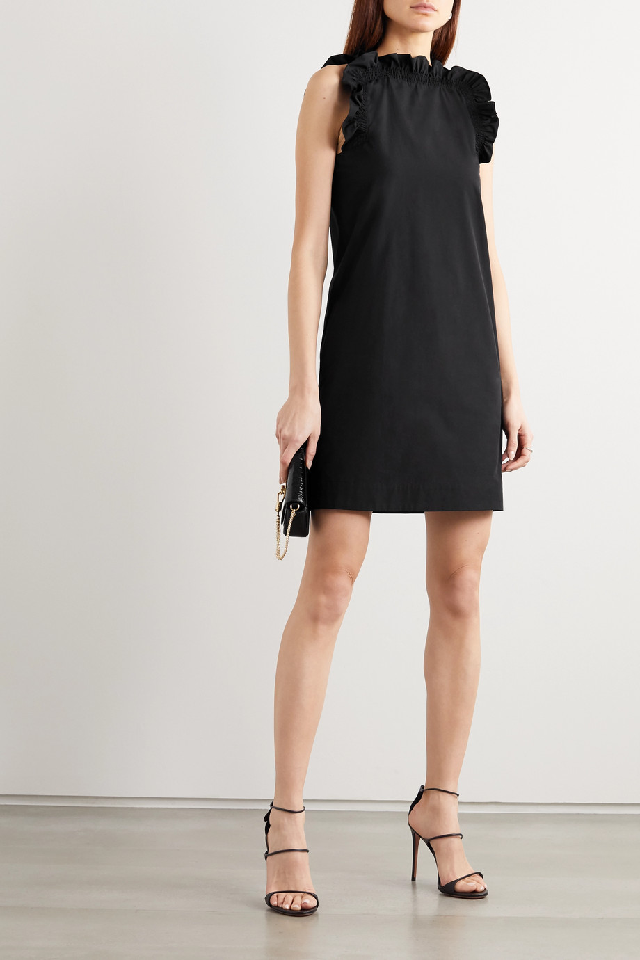 Givenchy Grosgrain-trimmed gathered cotton-poplin mini dress