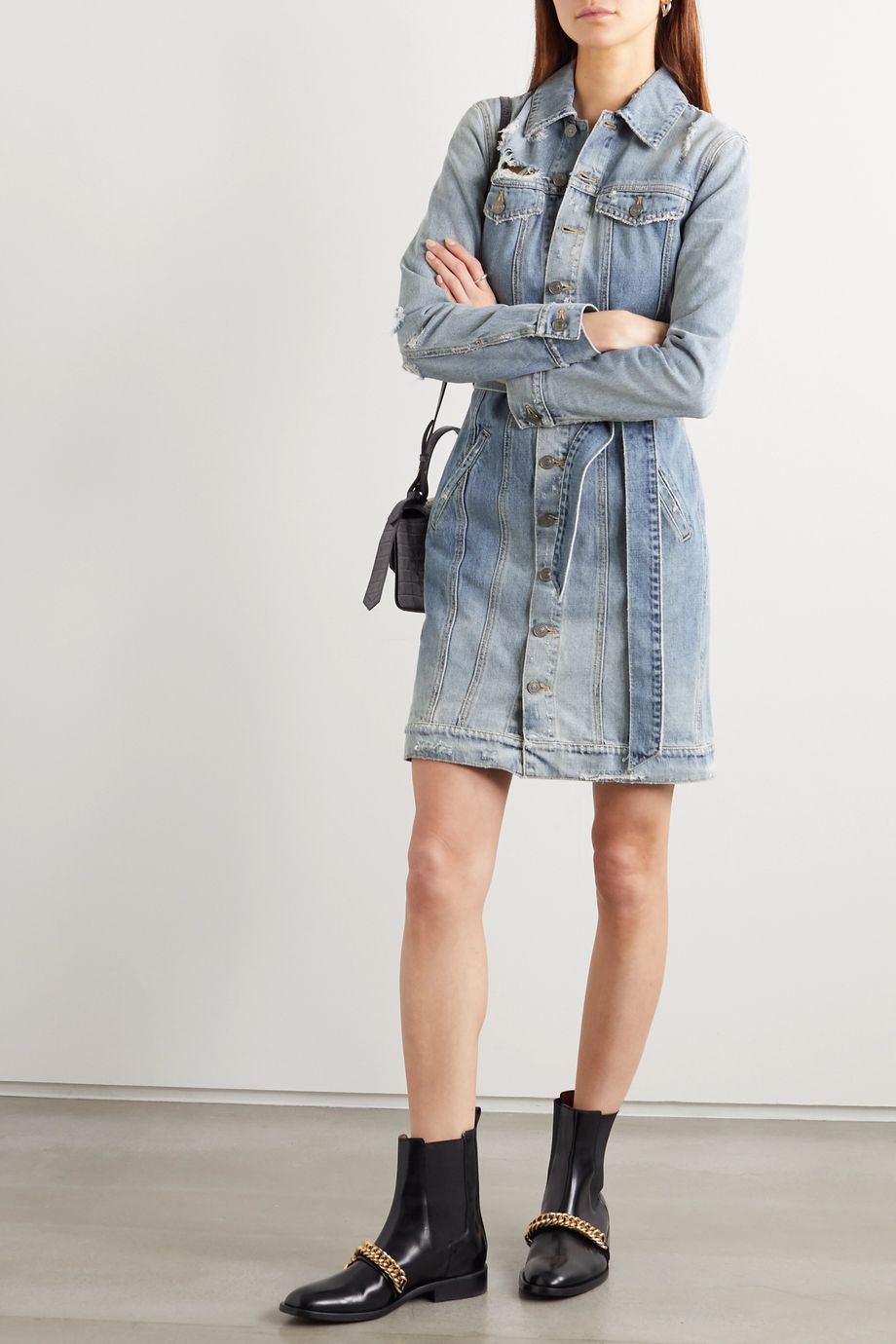 Givenchy Belted distressed denim mini dress