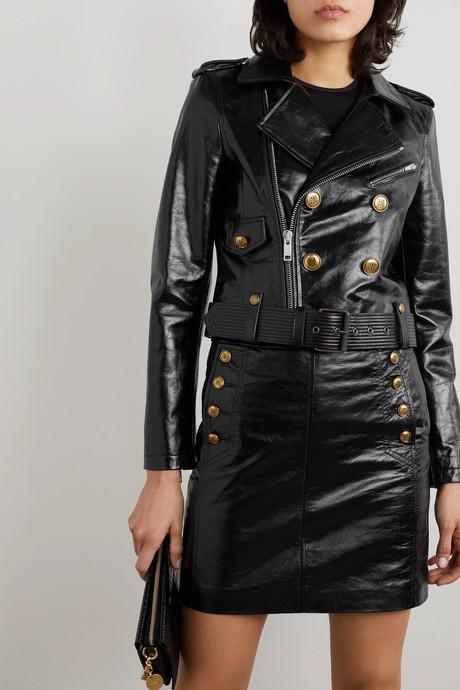 Button-embellished textured-leather biker jacket