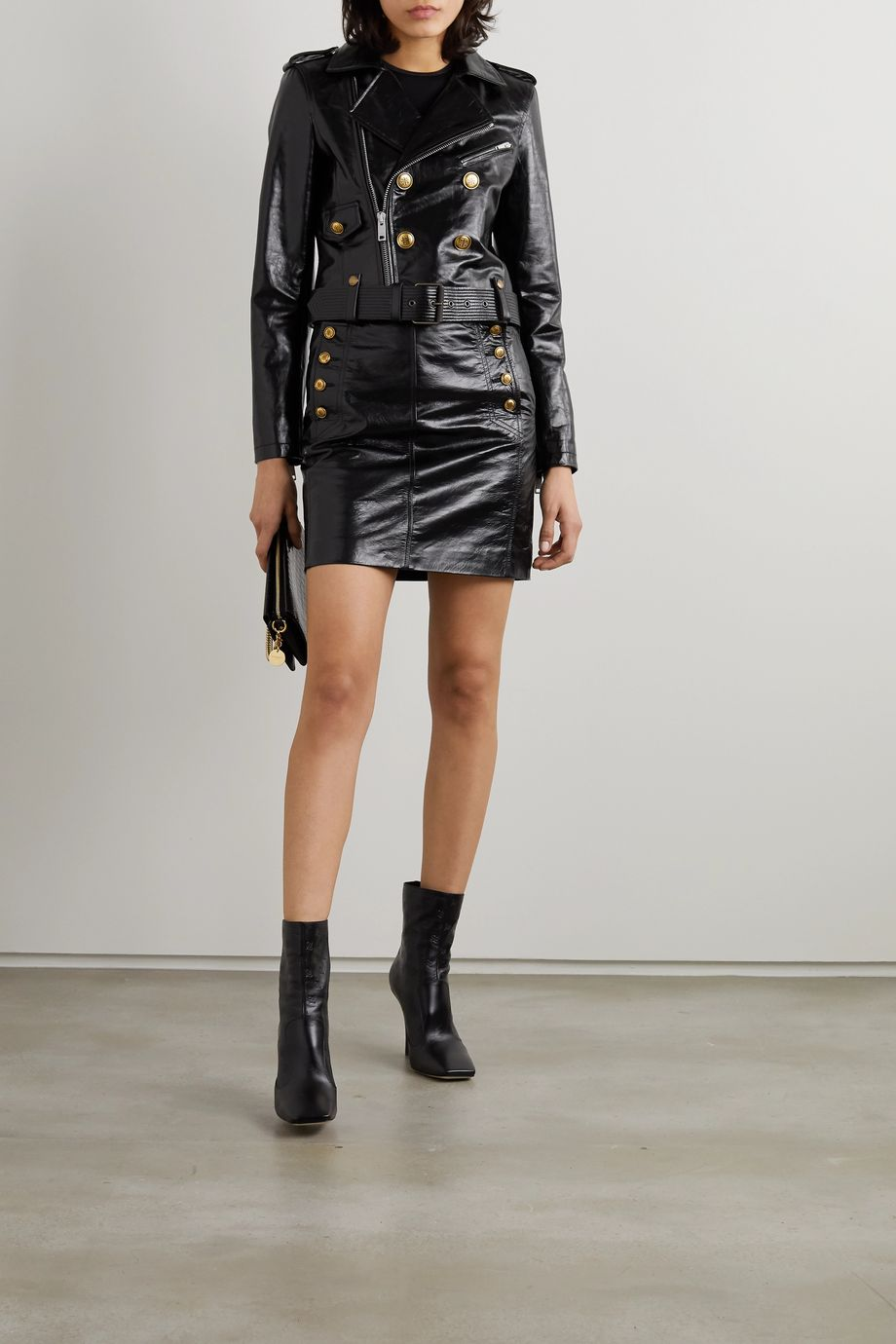 Givenchy Button-embellished textured-leather biker jacket