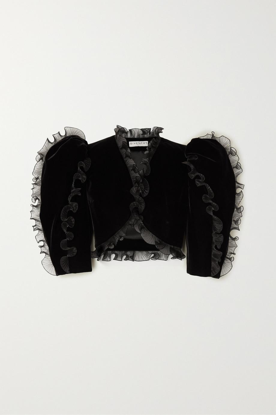 Givenchy Verkürzte Jacke aus Samt mit Rüschen aus plissiertem Organza