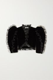 Givenchy Cropped ruffled plissé organza-trimmed velvet jacket