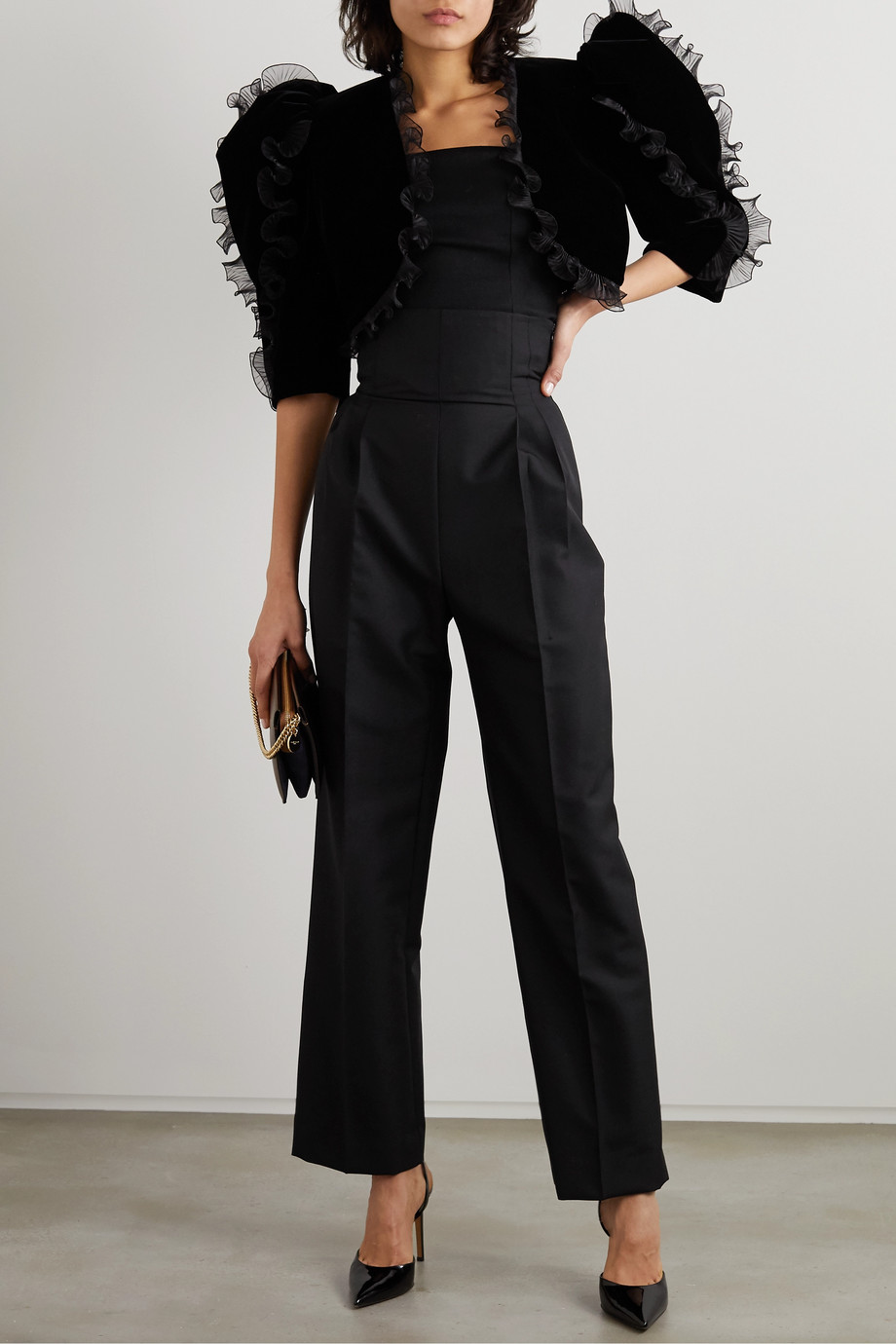 Givenchy Cropped ruffled plissé organza-trimmed velvet jacket
