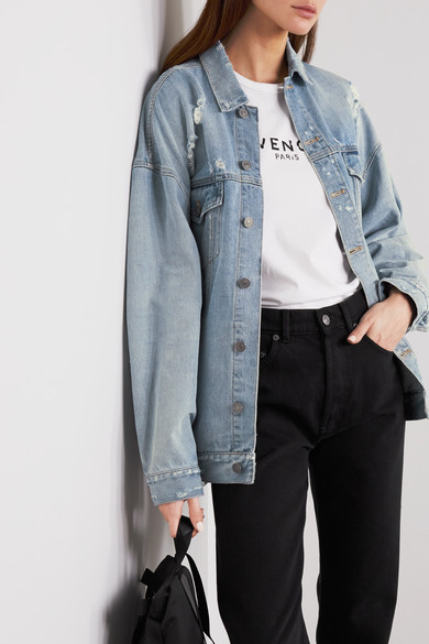 Oversized Distressed Denim Jacket by Givenchy
