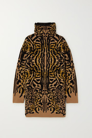 Givenchy Leopard-jacquard wool-blend turtleneck sweater