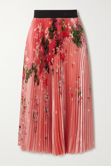 Givenchy Pleated Floral-print Satin Midi Skirt In Pink
