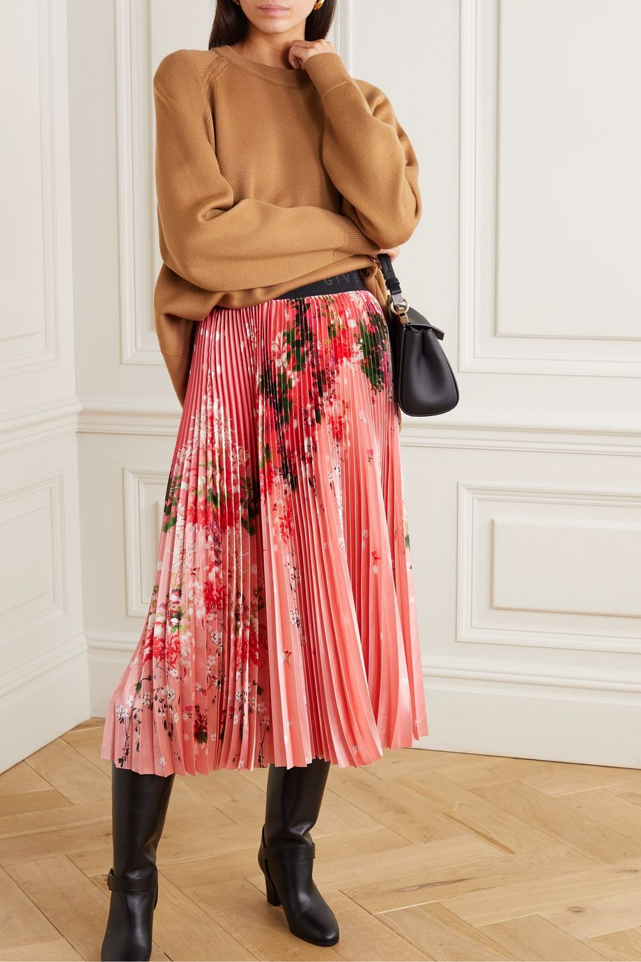 Givenchy Pleated floral-print satin midi skirt