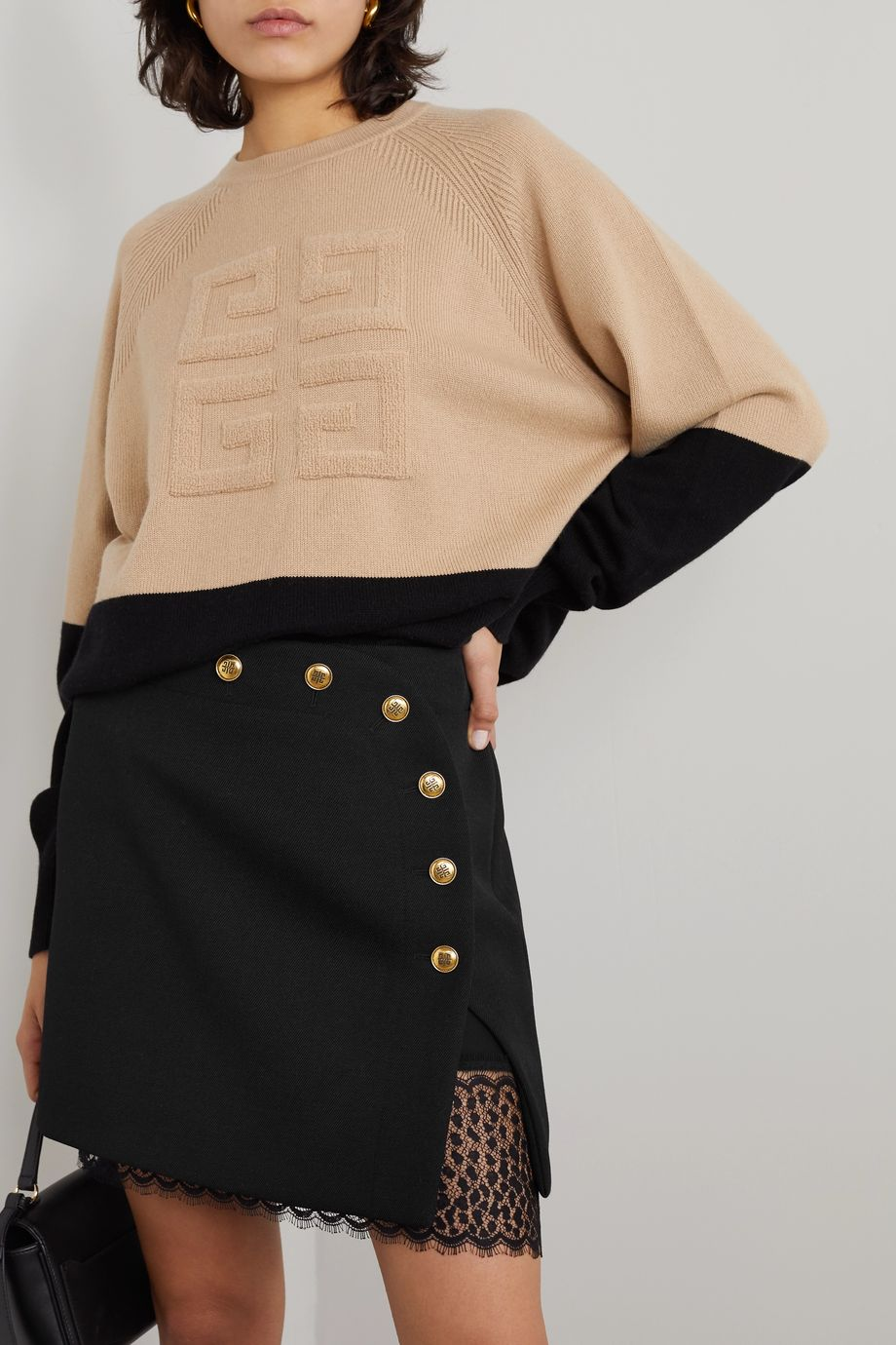 Givenchy Lace-trimmed button-embellished wool mini skirt