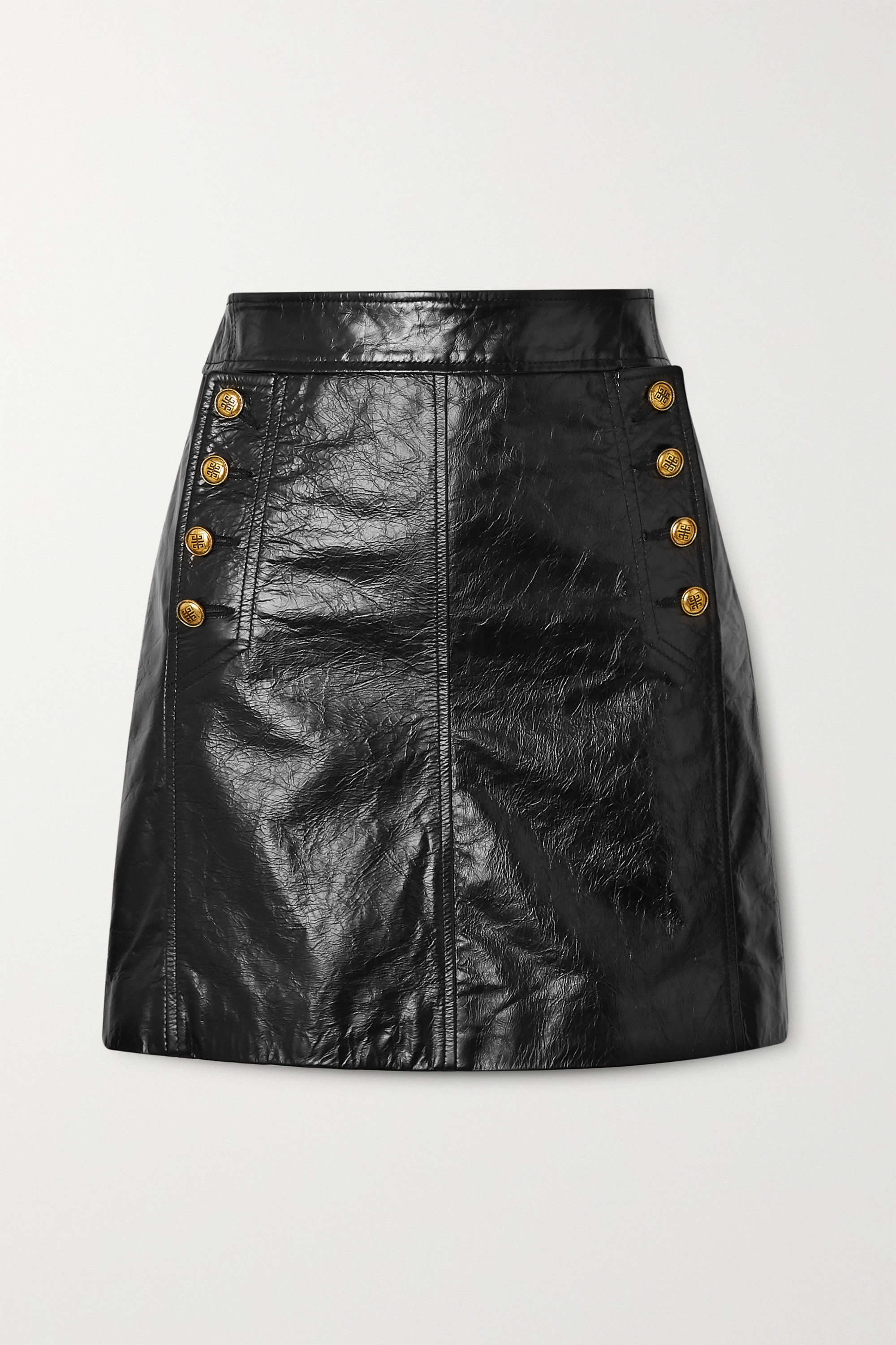 Givenchy Button-embellished textured-leather mini skirt