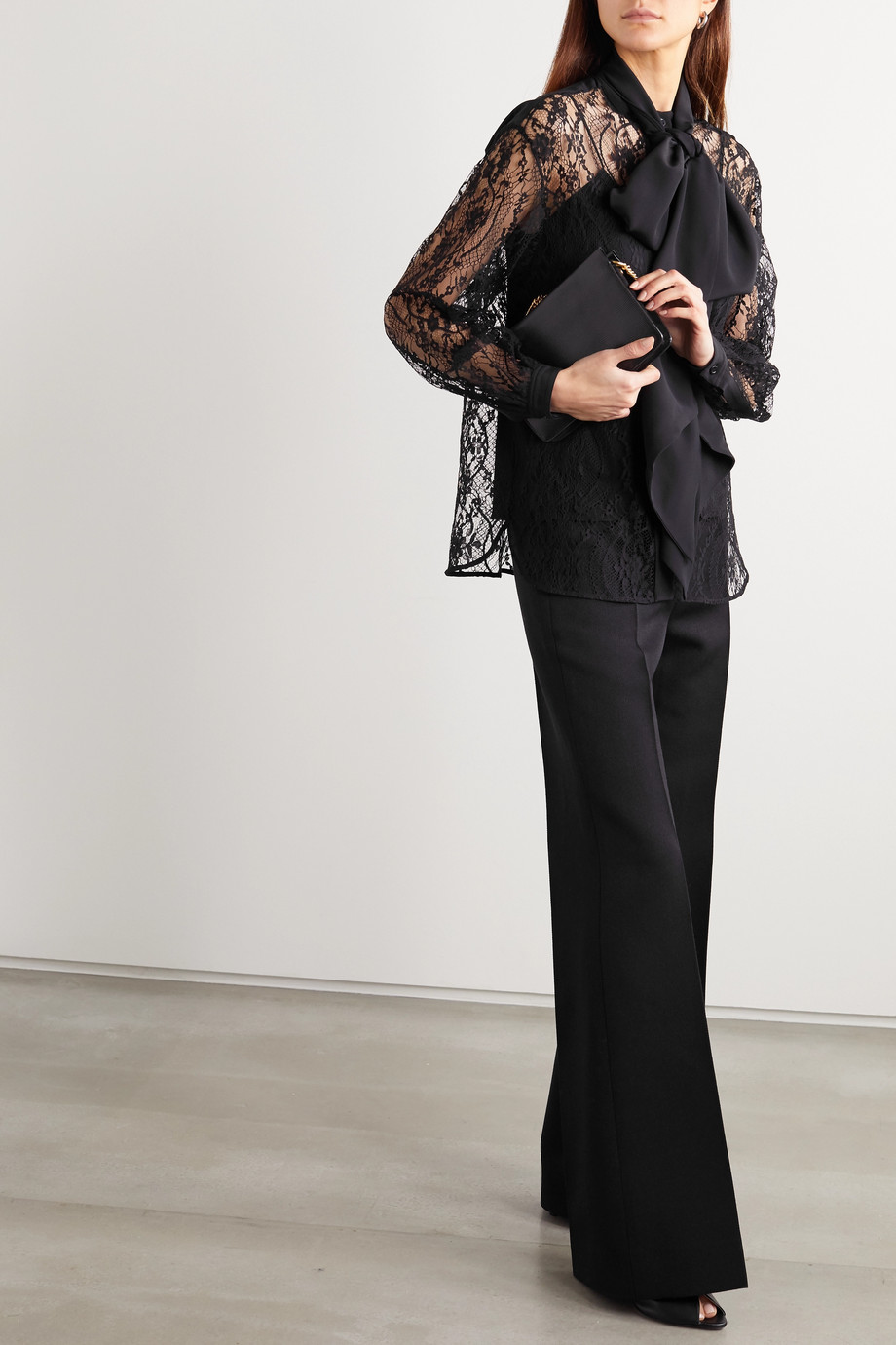 Givenchy Pussy-bow cotton-blend lace and silk crepe de chine blouse