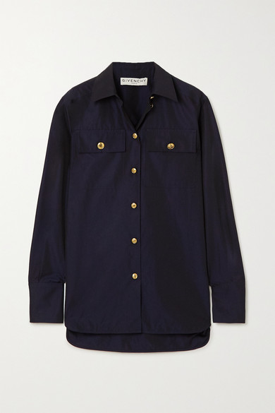 Givenchy Button-embellished Cotton-poplin Shirt In Navy