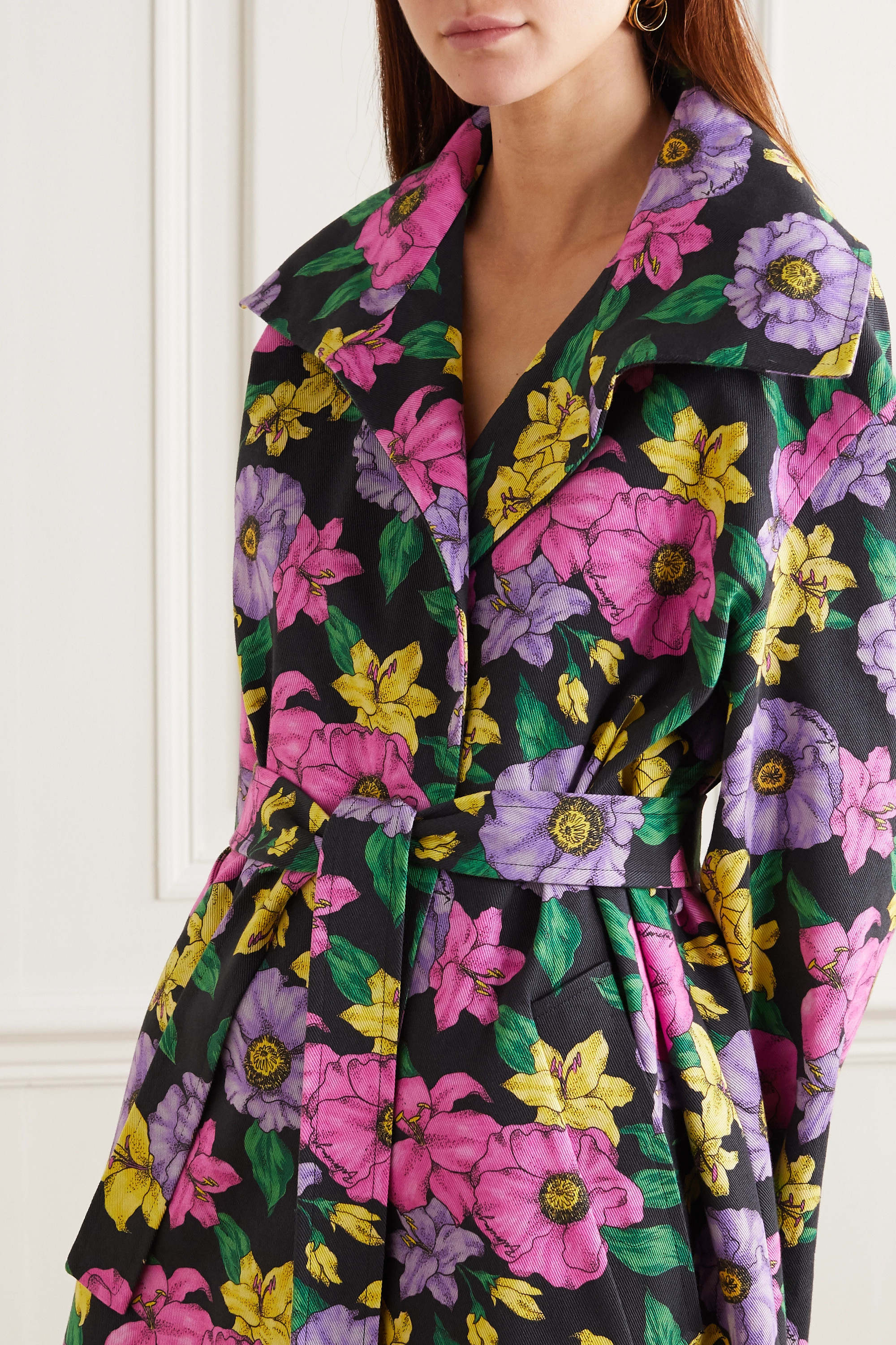 Balenciaga Belted floral-print cotton-drill trench coat