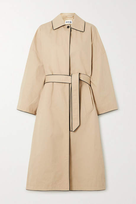 Beige Faux leather-trimmed cotton-gabardine trench coat | Balenciaga HD0BYJ
