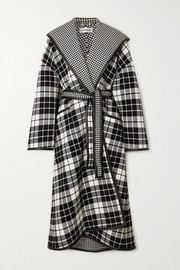 Oversized hooded checked wool and cashmere-blend coat