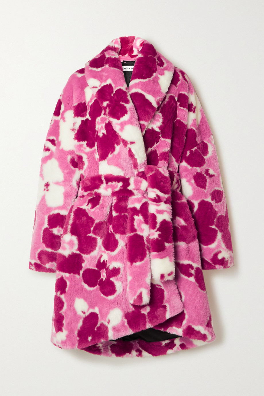 Balenciaga Belted floral-print faux fur coat