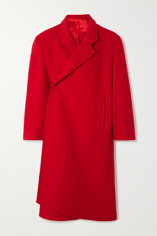 Oversized asymmetric virgin wool-blend coat