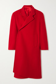 Oversized asymmetric virgin wool-blend coat