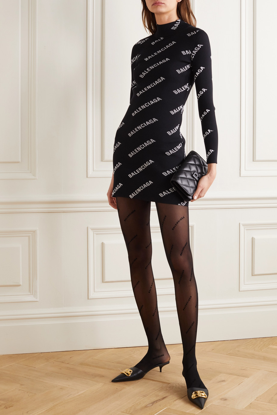 Balenciaga Printed ribbed-knit mini dress