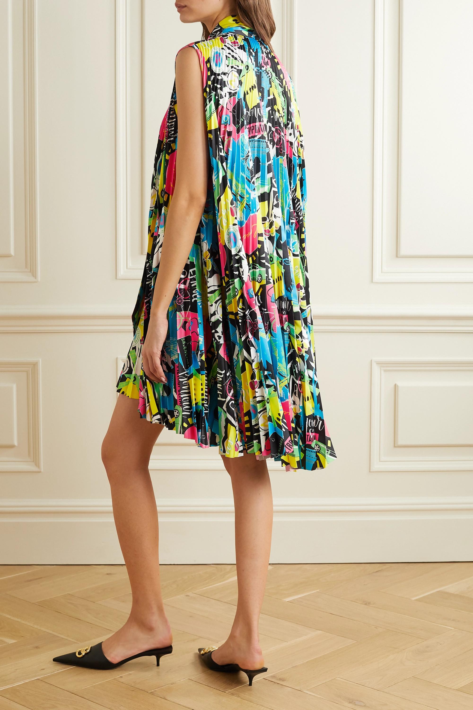 Balenciaga Asymmetric pleated printed satin mini dress