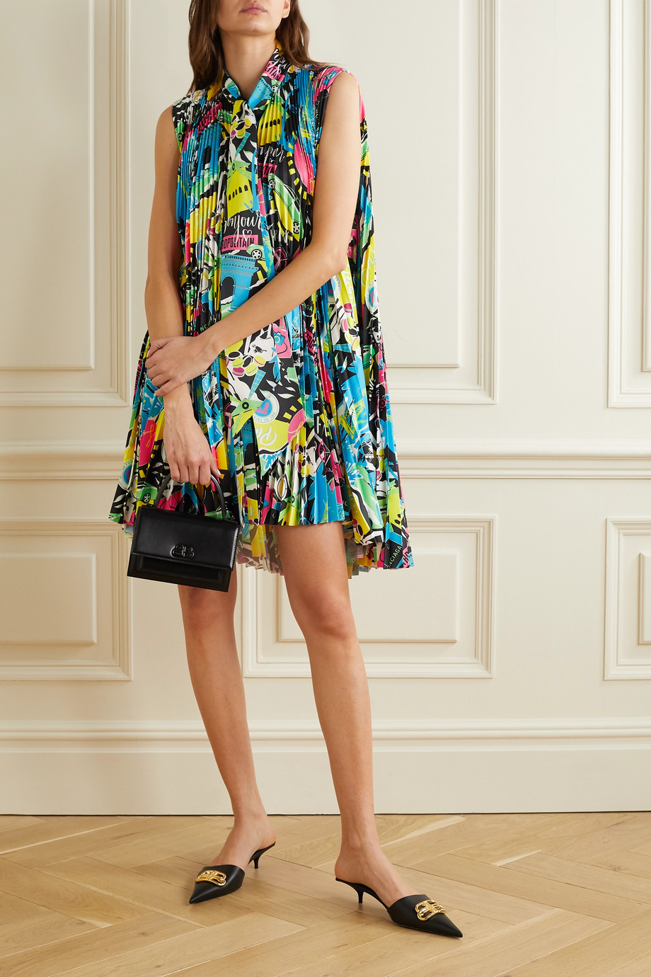 Balenciaga Asymmetric pleated printed satin mini dress
