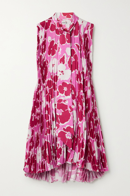 Balenciaga Mini-robe asymétrique plissée en satin à imprimé fleuri