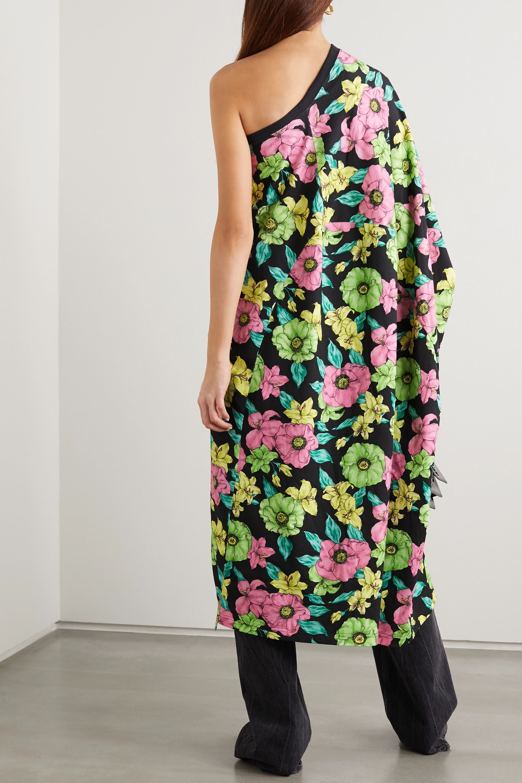 Balenciaga One-sleeve floral-print cotton-jersey midi dress