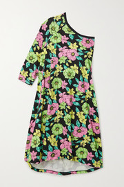 One-sleeve floral-print cotton-jersey midi dress