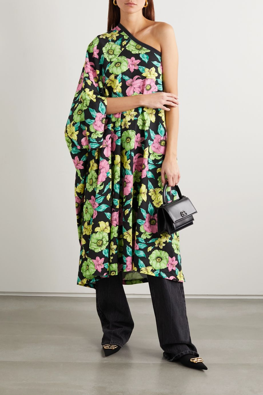 Balenciaga One-sleeve floral-print cotton-jersey midi dress