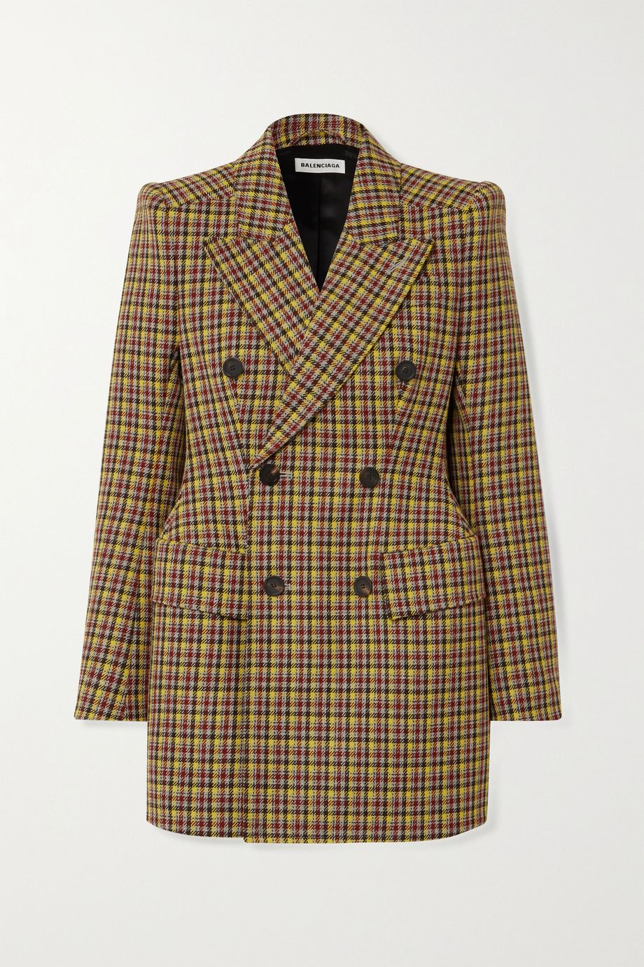 Balenciaga 双排扣格纹羊毛西装式外套
