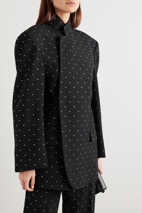 Oversized sequin-embellished wool-twill blazer