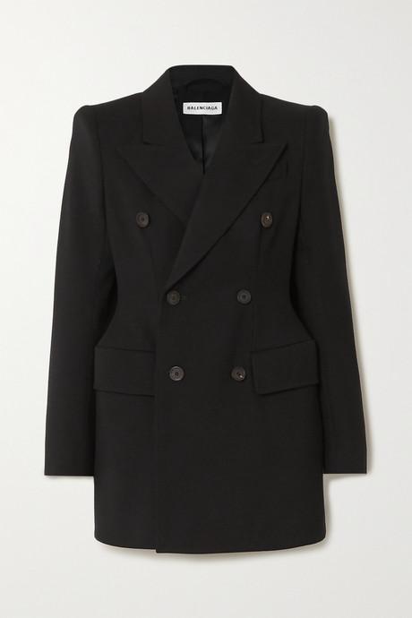 Black Hourglass double-breasted wool-twill blazer | Balenciaga hWfggW