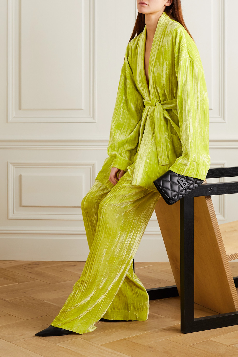 Balenciaga Belted crushed-velvet blazer