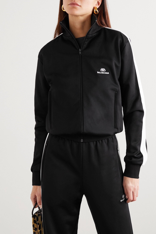 Balenciaga Striped embroidered tech-jersey track jacket