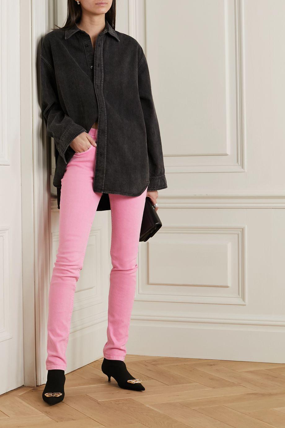 Balenciaga Halbhohe Skinny Jeans in Acid-Waschung