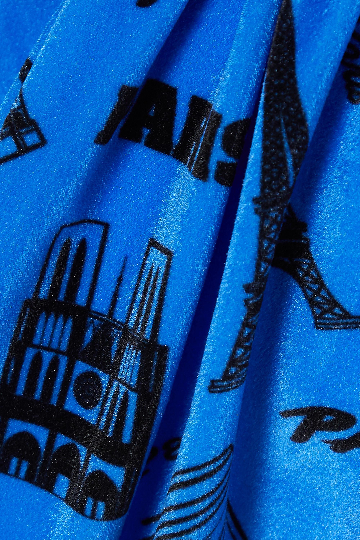 Balenciaga Playsuit aus bedrucktem Stretch-Samt in Wickeloptik