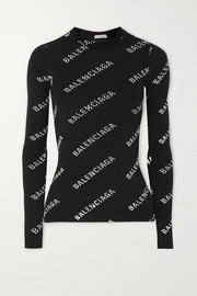 Balenciaga Printed ribbed-knit top