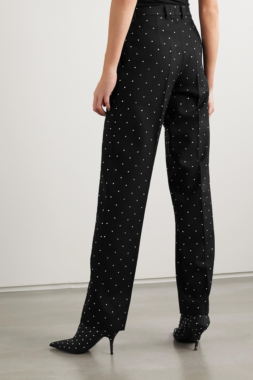 Balenciaga Sequin-embellished wool-twill straight-leg pants