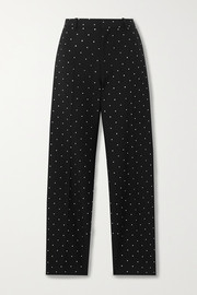 Sequin-embellished wool-twill straight-leg pants