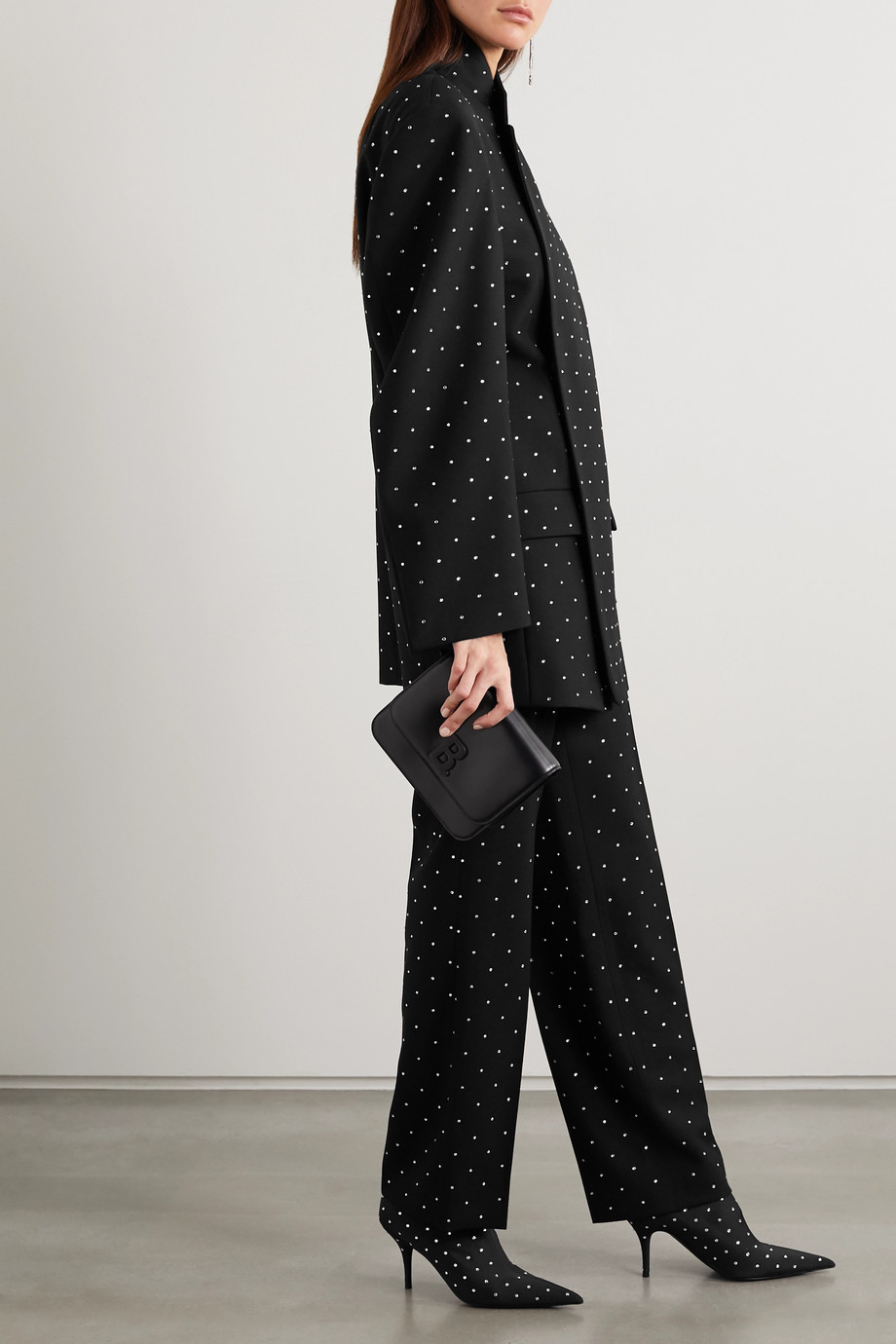 Balenciaga Sequin-embellished wool-twill straight-leg pants