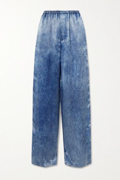 Balenciaga - Printed Satin Wide-leg Pants - Blue